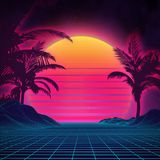 Retro background futuristic landscape 1980s style. Digital retro landscape cyber surface. 80s party background . Retro. 80s fashion Sci-Fi Background Summer Royalty Free Stock Photos