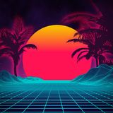 Retro background futuristic landscape 1980s style. Digital retro landscape cyber surface. 80s party background . Retro. 80s fashion Sci-Fi Background Summer Royalty Free Stock Image