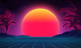 Retro background futuristic landscape 1980s style. Digital retro landscape cyber surface. 80s party background . Retro. 80s fashion Sci-Fi Background Summer Royalty Free Stock Photography