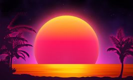 Retro background futuristic landscape 1980s style. Digital retro landscape cyber surface. 80s party background . Retro Stock Images