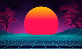 Retro background futuristic landscape 1980s style. Digital retro landscape cyber surface. 80s party background . Retro Stock Photography