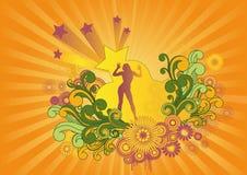 Retro Background Girl Artwork Design stock images