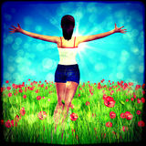 Retro background with girl on poppy field Stock Images
