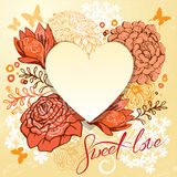 Retro background or greeting card with heart and flowers. Royalty Free Stock Images