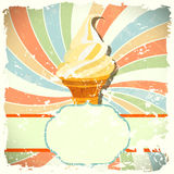 Retro background with ice cream and colorful spira Stock Images