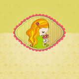 Retro background with illustrated cute girl Stock Photography