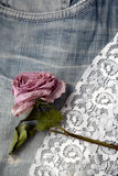 Retro background with lace and jeans Stock Images