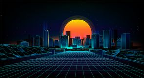 Retro background  landscape 1980s style. Retro 80s Sci-Fi background city Landscape.Futuristic background retro wave Royalty Free Stock Images