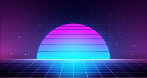 Retro Background With Laser Grid Abstract Landscape With Sunset