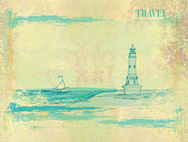 Retro background with lighthouse Royalty Free Stock Photography