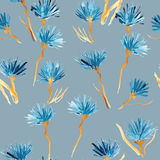 Retro background made of water colored flowers, Vintage hipster seamless pattern Stock Photography