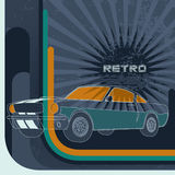 Retro background with muscle car Royalty Free Stock Image