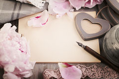 Retro Background with Old Empty Paper, Flowers and Pen Royalty Free Stock Photos