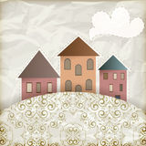Retro background with old houses Stock Image
