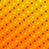 Retro Background with Polka Dots - Abstract Geometric Pattern Texture - Seamless Traditional Design - Yellow Orange Circles - Grap Stock Photo
