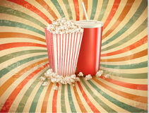 Retro background with Popcorn and a drink. Vector illustration Royalty Free Stock Photos