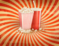 Retro background with Popcorn and a drink. Vector illustration Stock Image