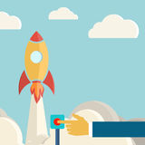 Retro background with rocket. Perfect for your presentations. Vector illustration Stock Photo