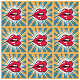 Retro background seamless lips print background Stock Photos