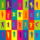 Retro background in squares with people silhouettes jumping Stock Image