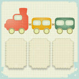 Retro background with a toy train. And place for text - illustration Stock Photos