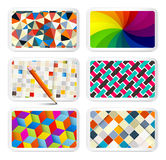 Retro Backgrounds Set. 6 Different Vintage Patterns on Paper Cards - Square - Triangle - Spiral - Cube - Vector Modern Cover Design Royalty Free Stock Photos