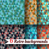Retro backgrounds with triangle. Set of 6 items. Retro backgrounds with triangle. Set of six items Royalty Free Stock Photography