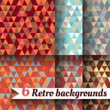 Retro backgrounds with triangle. Set of 6 items. Retro backgrounds with triangle. Set of six items Stock Photography
