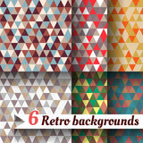 Retro backgrounds with triangle. Set of 6 items. Retro backgrounds with triangle. Set of six items Royalty Free Stock Images