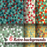 Retro backgrounds with triangle. Set of 6 items. Retro backgrounds with triangle. Set of six items Royalty Free Stock Photos