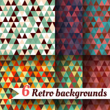 Retro backgrounds with triangle. Set of 6 items. Retro backgrounds with triangle. Set of six items Stock Photos