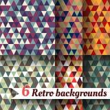 Retro backgrounds of triangles. A set  6 items. Retro backgrounds of triangles. A set of six items Stock Photos