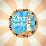 Retro badge with beacon on the shore. Vector. Illustration Royalty Free Stock Photography