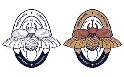 Retro badge with beetle Stock Images