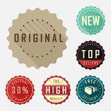 Retro badge and label flat design with long shadow Stock Photo