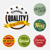 Retro badge and label flat design with long shadow Royalty Free Stock Images