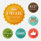 Retro badge and label flat design with long shadow Stock Images