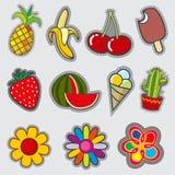 Retro badge patches, fun vector trendy stickers Stock Photos