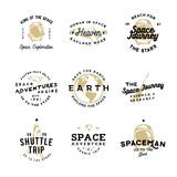 Retro badges on cosmic theme with space objects. Ship, spacesuit, Earth, flying rocket. Good for thematic events, cards, ads or other uses Royalty Free Stock Photo