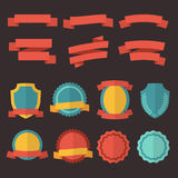 Retro badges, labels and ribbons. Vector set in flat style Stock Photos