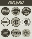 Retro badges. 9 in 1 minimalist retro badges collection, suitable for your web/ design element Royalty Free Stock Images