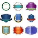 Retro Badges. Set of nine retro badges, design elements Stock Photography