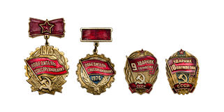 Retro badges USSR - Winner of socialist competition isolated on Stock Image