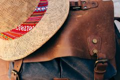 Retro bag and hat for summer travel. royalty free stock images