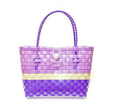 The retro bag made of woven plastic. Royalty Free Stock Photography