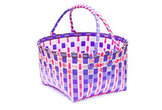 The retro bag made of woven plastic. Royalty Free Stock Photos