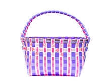 The retro bag made of woven plastic. Stock Photos