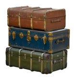 Retro bagage som isoleras på vit arkivfoto