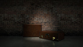 Retro bags on background dark brick wall Royalty Free Stock Photography