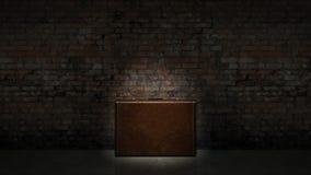 Retro bags on background dark brick wall Stock Photo
